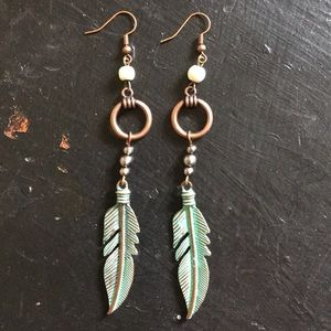 Patina metal feather earrings